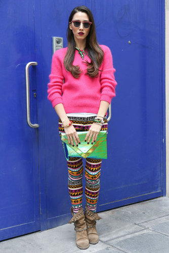 This styler played up her color story with printed skinnies and a bold pop of pink on her sweater.