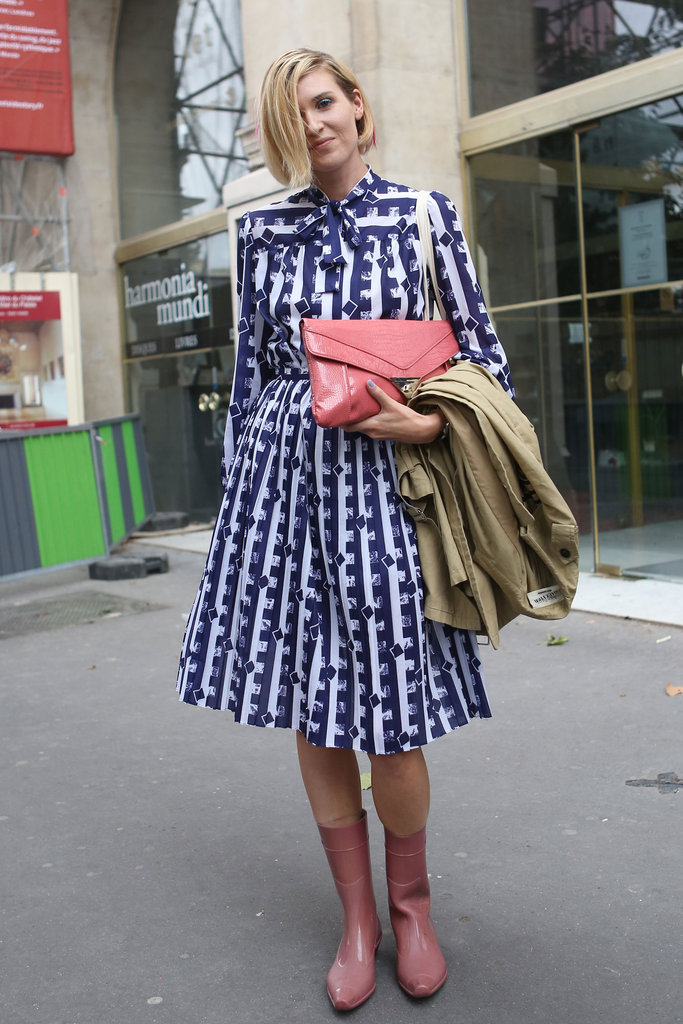 We adore this charming shirtdress and her girlie pink add-ons.