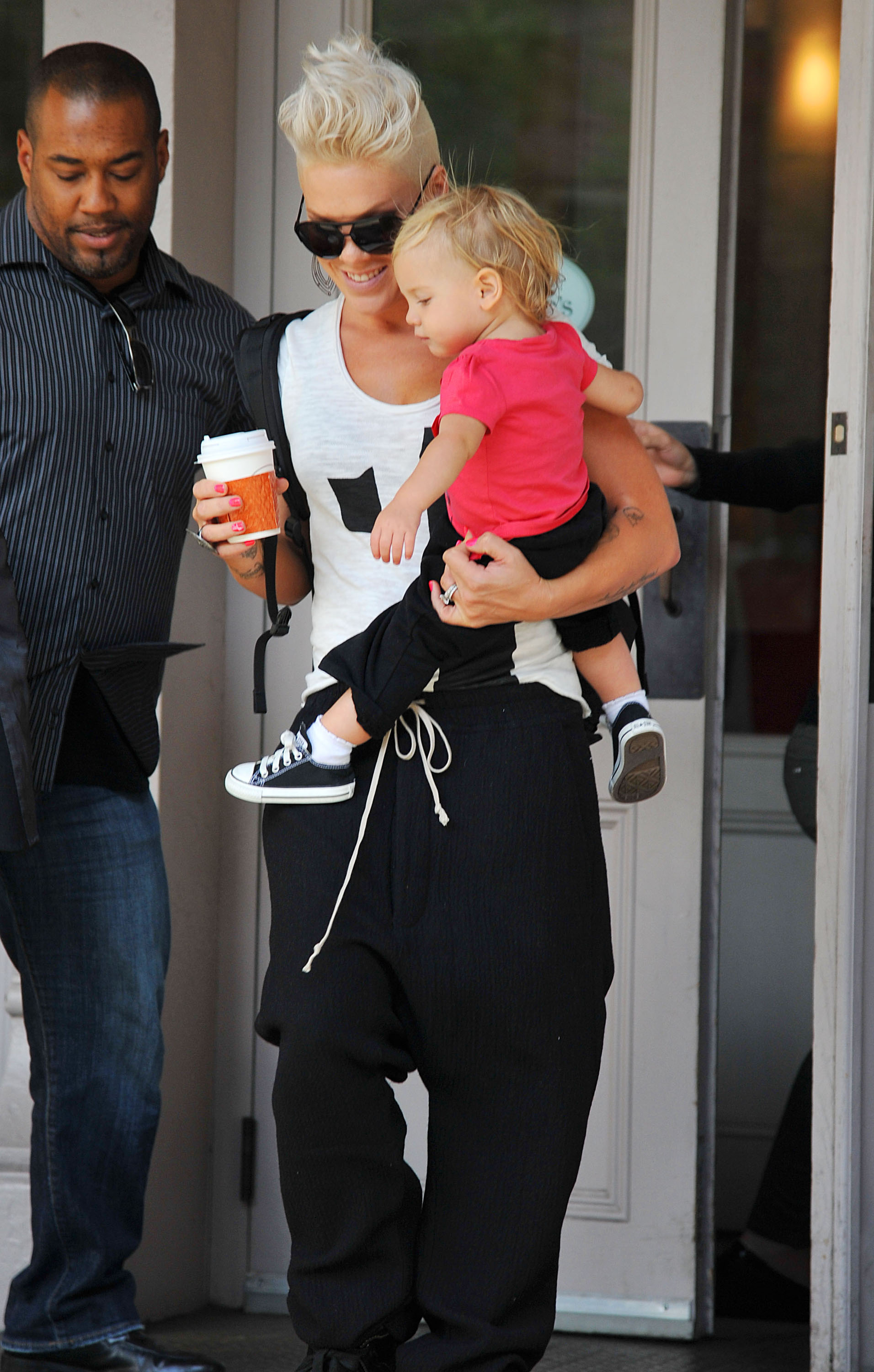 Pink had baby Willow on her hip for a stop by Sarabeth's in NYC.
