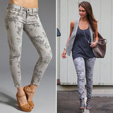 Jessica Alba's Gray Floral Jeans