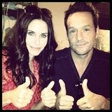 Courteney Cox and Josh Hopkins gave Cougar Town two thumbs way up. Source: Instagram user mrjoshhopkins