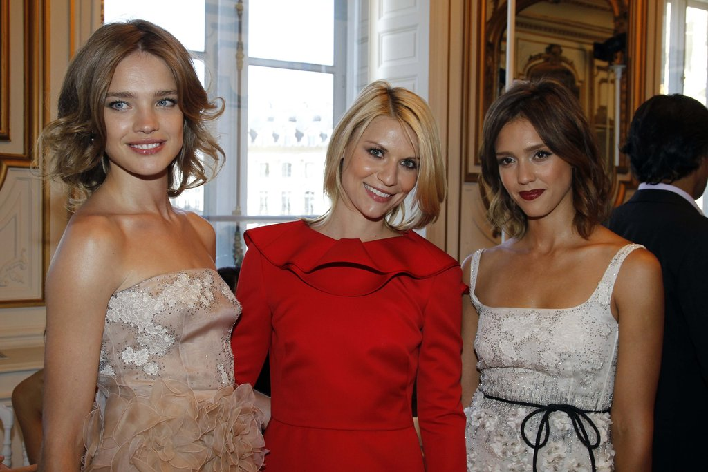Natalia Vodianova, Claire Danes, and Jessica Alba stepped out for Valentino during Paris Fashion Week in July 2010.