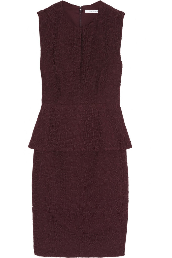 From the office to after-hours, this peplum-trimmed sheath will look even better with opaque black tights and Fall ankle boots. Diane von Furstenberg Delian Pebble-Lace Peplum Dress ($445)