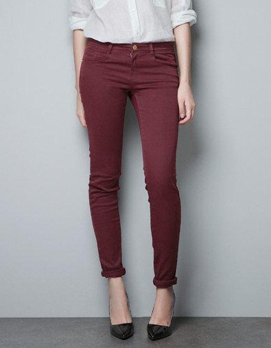 Oxblood skinny jeans