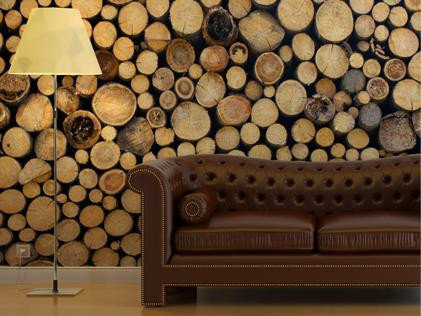 This lifelike log cabin wallpaper ($105-$303) creates a homey atmosphere — no fireplace needed.