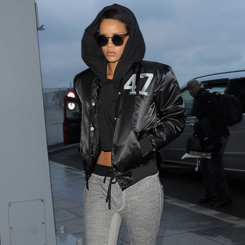 Rihanna Wearing Gray Sweatpants With Sandals