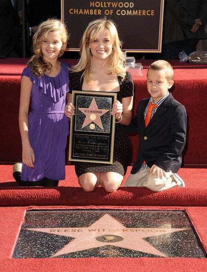 Reese Witherspoon's kids, Ava and Deacon, Jim Toth, and the rest of her family were on hand to watch her Hollywood Walk of Fame ceremony in LA in December 2010.