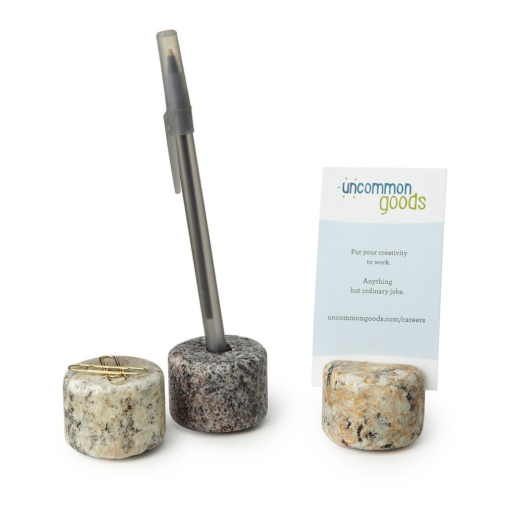 Set business plans in stone with Granite Desk Toppers ($18 for three) that will keep your business cards, a pen, and paper clips in place.
