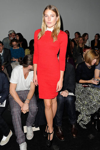 Dree Hemingway styled herself in bright red Carven for the label's show. We're particularly loving her prim collared blouse peeking out and T-strap Mary Jane pumps.
