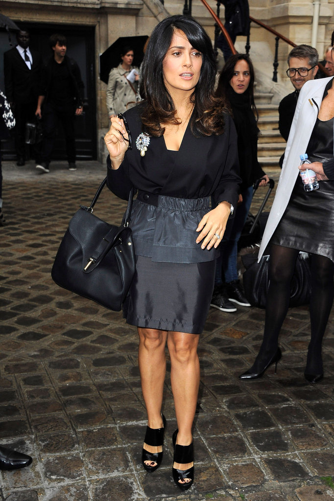 Salma Hayek was the picture of ladylike elegance in an all-black uniform upon her arrival at Balmain.