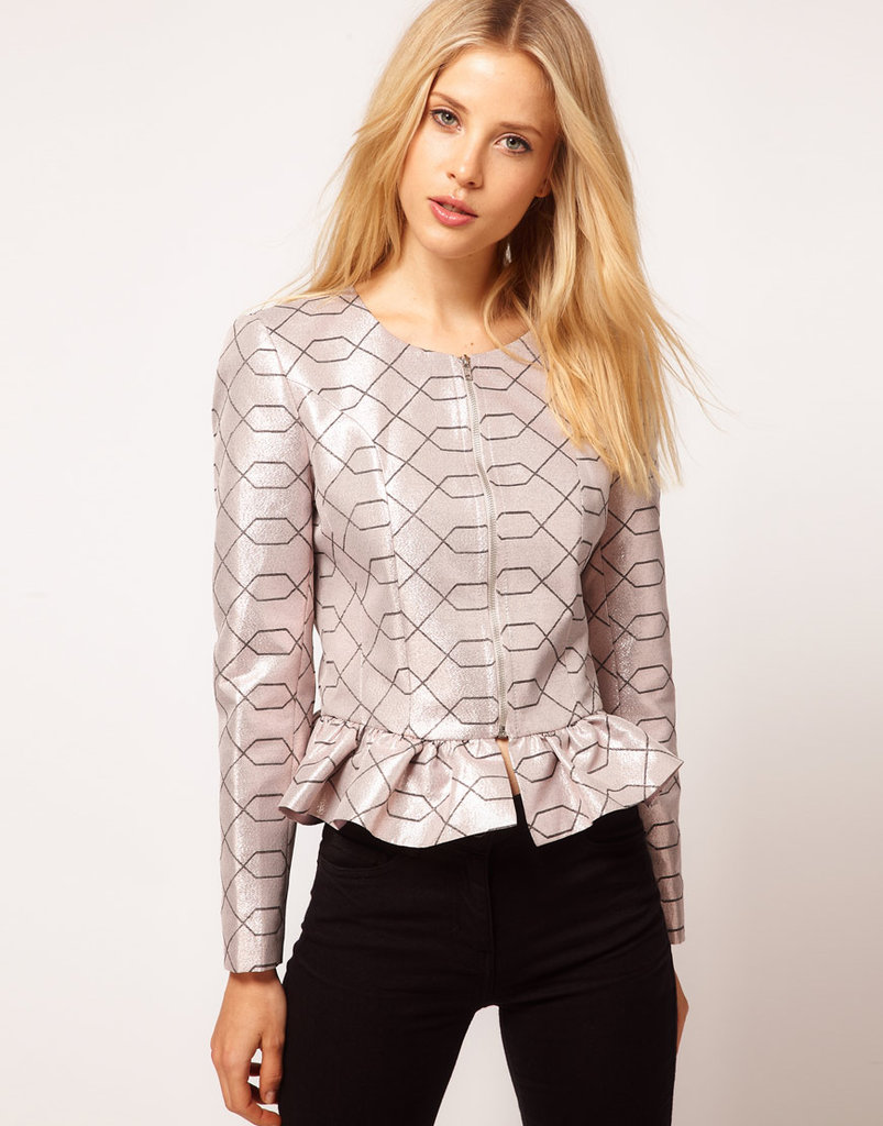 The geometric print and metallic shine on this jacket make it a great go-to piece to finish off any look after the sun goes down.  ASOS Premium Peplum Frill Jacket ($104)