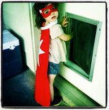 Harper Smith played superhero following her cousin's birthday party. Source: Instagram user tathiessen