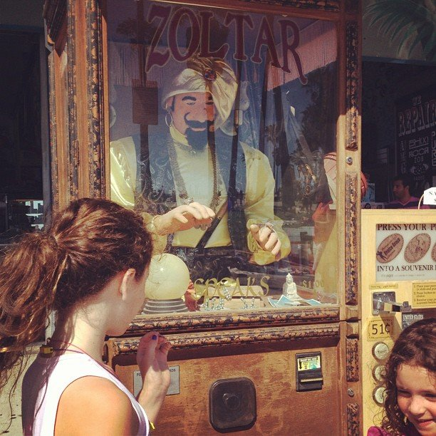 Soleil Moon Frye took her girls to have their fortunes read by Zoltar (the same amusement park attraction from Big). Source: Instagram user moonfrye