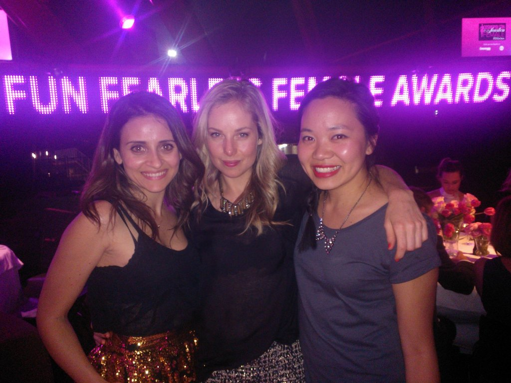 Publisher Marisa, FabSugar editor Ali and Jess at the Cosmopolitan Fun, Fearless Female Awards on Wednesday night at Guillaume at Bennelong.