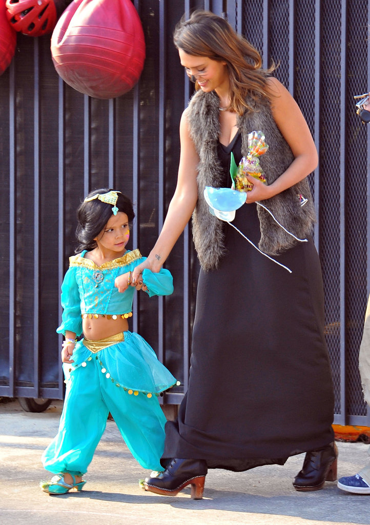 Jessica Alba wore cat whiskers and Honor was Jasmine for Halloween in LA in 2011.