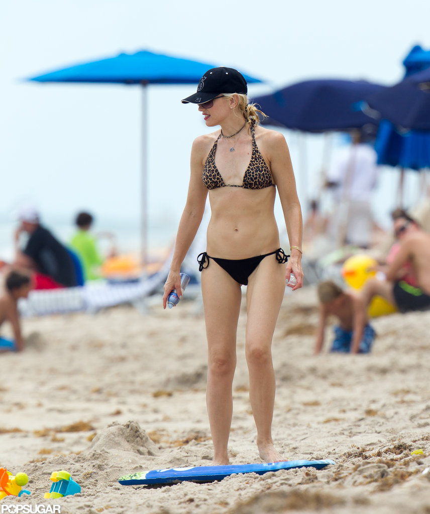 Gwen Stefani revealed her bikini body during a family trip to Miami in August 2012.