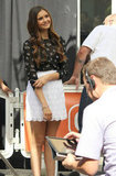 Nina Dobrev was all smiles on the set of Extra.