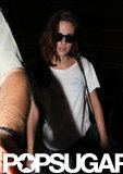 Kristen Stewart wore a white t-shirt and jeans.