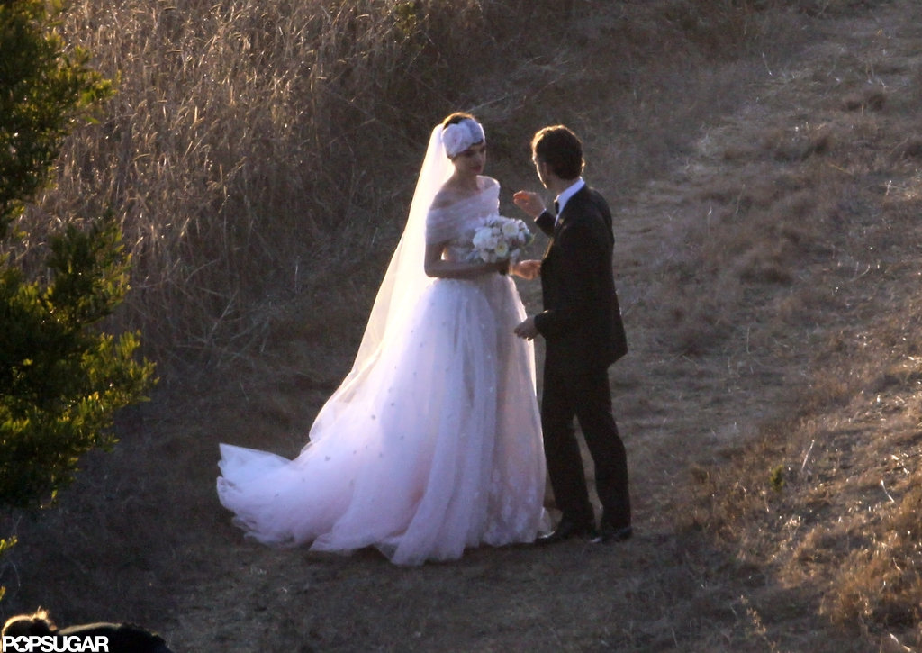 Anne Hathaway and Adam Schulman posed together after their wedding in Big Sur.