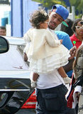 Nick Cannon carried Monroe Cannon at the Santa Monica Pier.