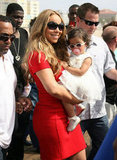 Mariah Carey held Monroe Cannon at the Santa Monica Pier.
