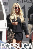 Jessica Simpson walked toward a studio.