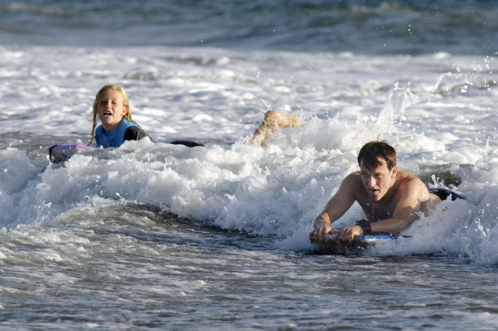 Stephen Moyer and Lilac Moyer rode in some waves.