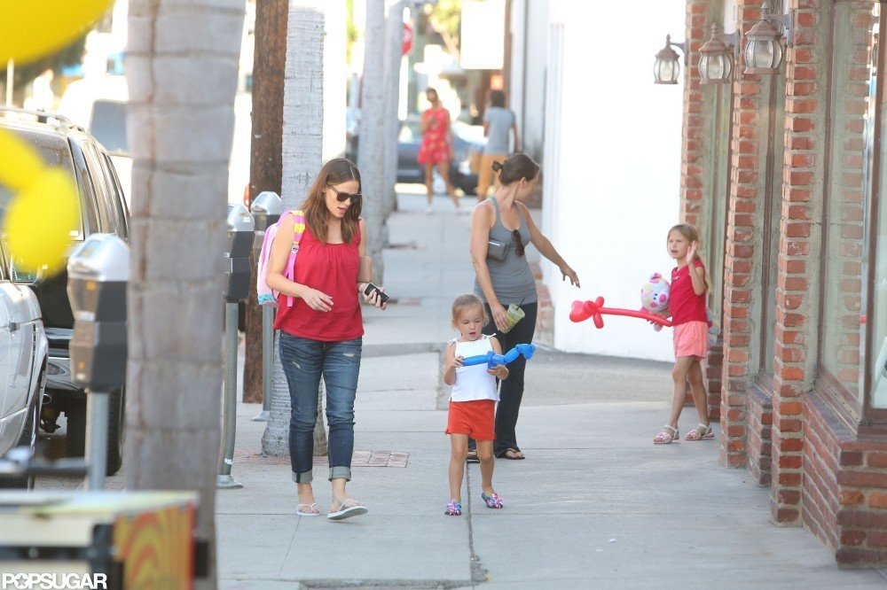 Jennifer Garner wore a backpack belonging to one of her little one's while out in LA.