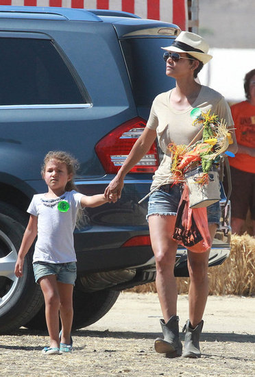 Halle Berry held hands with Nahla Aubrey as they arrived at a pumpkin patch.
