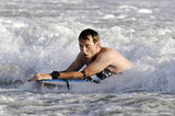 Stephen Moyer boogie-boarded in Venice Beach.