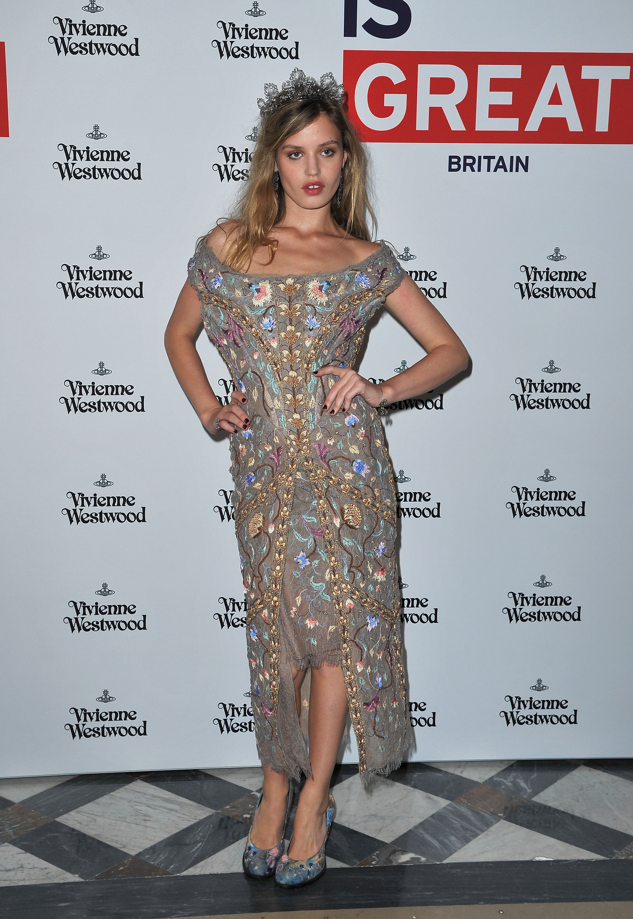 Georgia May Jagger wore one of Vivienne Westwood's sexy bustier-silhouette gowns to the designer's show on Saturday.