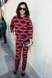 Leigh wore a head-to-toe optic print pantsuit to Giambattista Valli.