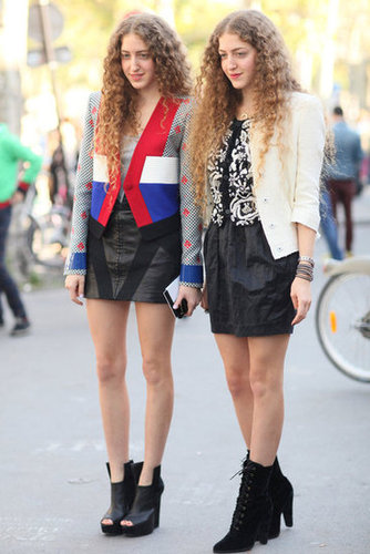 Coordinating curls and miniskirts.