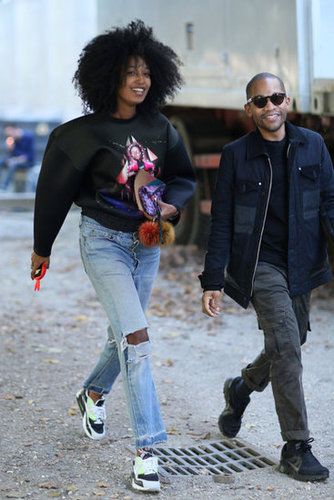 Proof that you can still play it casual and cool, even at Fashion Week. Julia Sarr-Jamois kept cool in a sweatshirt and distressed denim.