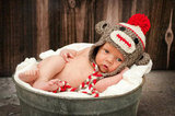 Sock Monkey Baby Hat
