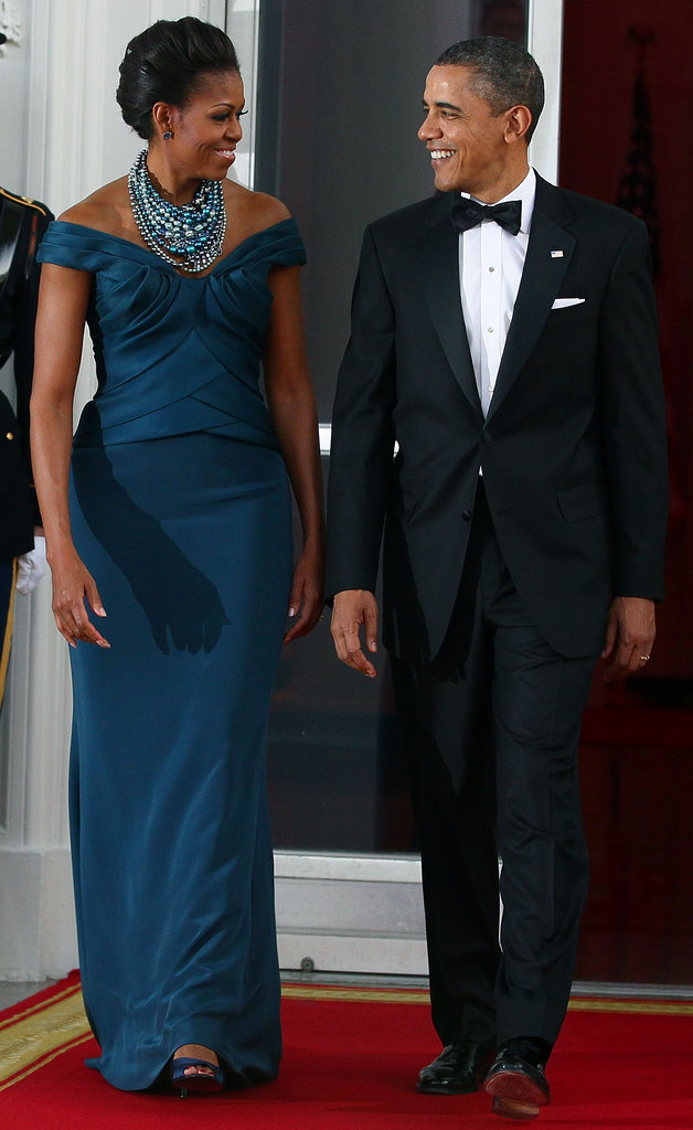 Barack checked Michelle out during the a state dinner on March 13, 2012.