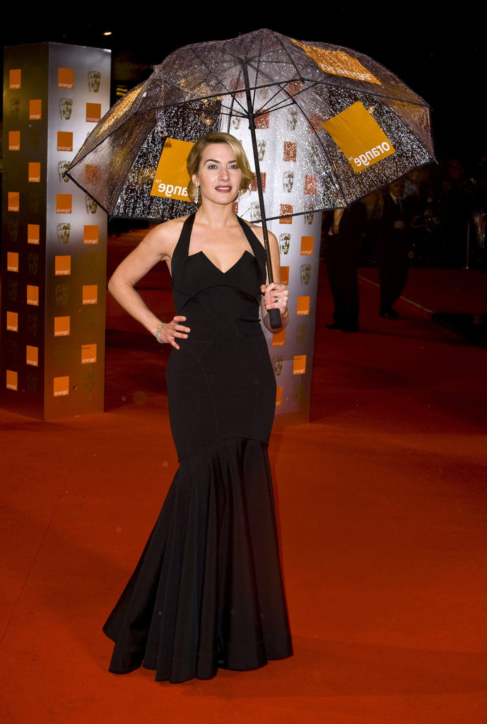 Kate Winslet wore a tight black dress at London's 2009 Orange British Academy Film Awards.