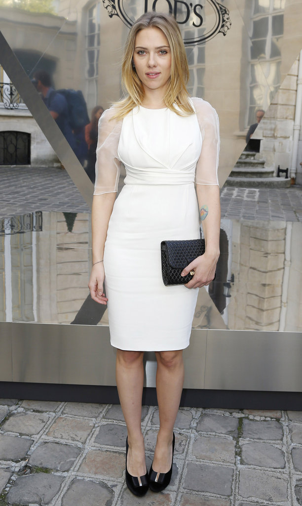 Scarlett Johansson wore a white Dior dress for the Tod's party in Paris.