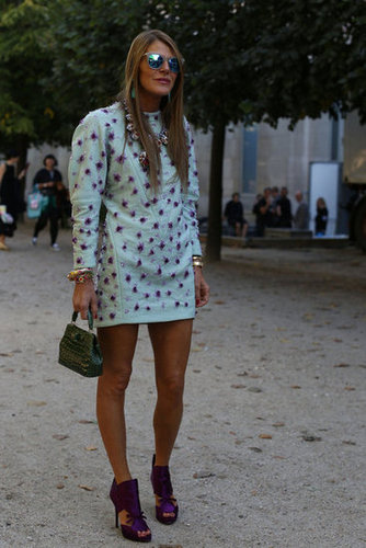 Anna Dello Russo worked an embellished mini — and matched her heels to her dress.