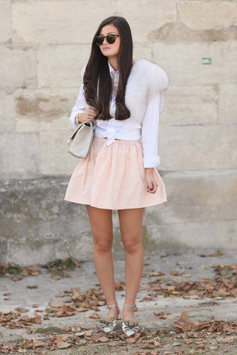 The softest petal-pink skirt got a touch of luxe via a fur stole.