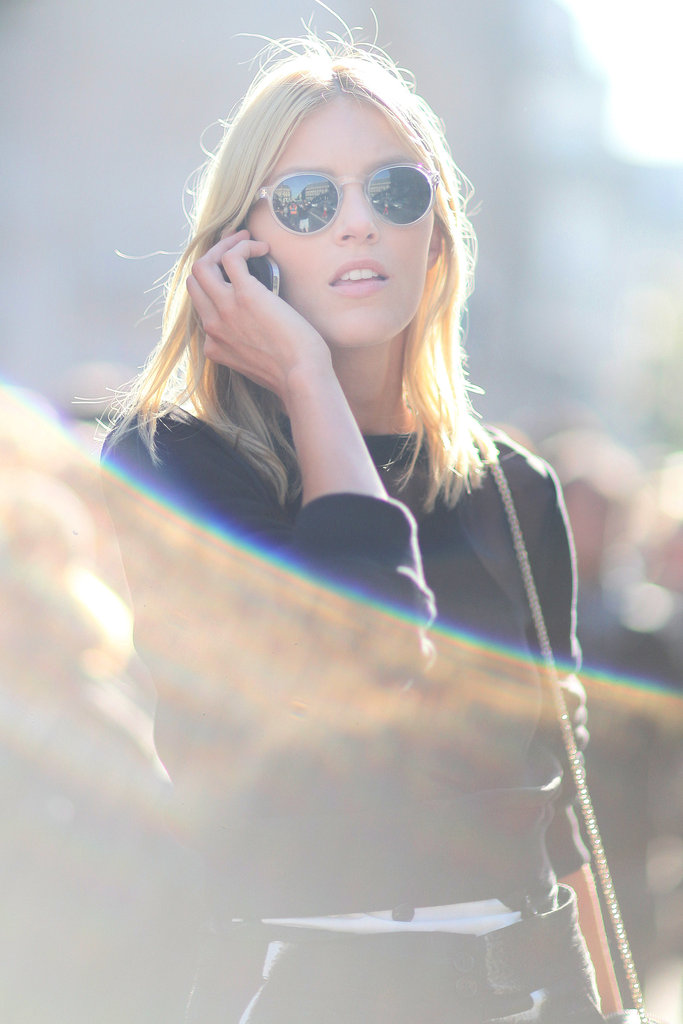 Anja Rubik worked perspex shades off the runway.