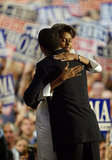 Michelle hugged Barack after his very well-received speech in 2004.
