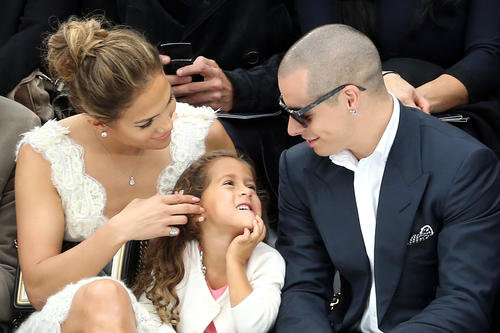 Jennifer Lopez attends the Chanel Spring/ Summer 2013 fashion show with her daughter Emme and boyfriend Casper