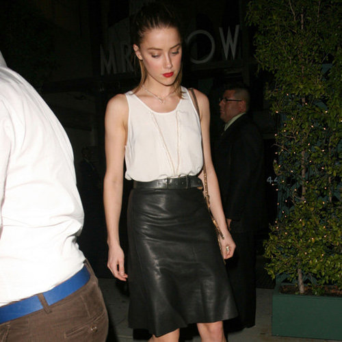 Amber Heard Wearing Black Leather Skirt