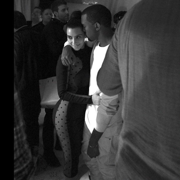 Kim Kardashian and Kanye West shared an intimate hug. Source: Instagram user kimkardashian