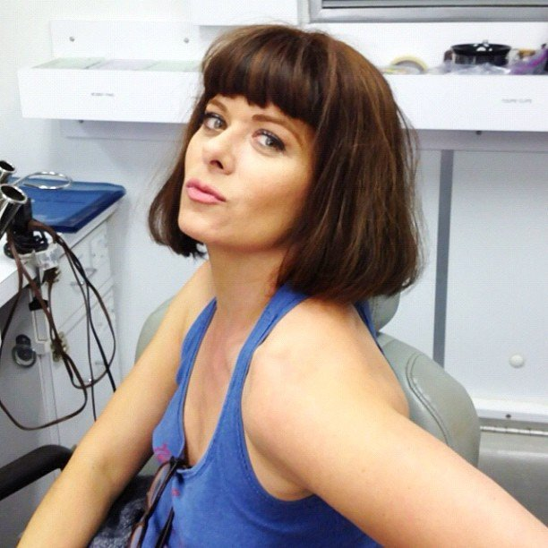 Debra Messing had fun in the wig closet on the set of Smash. Source: Twitter user DebraMessing