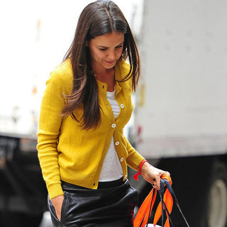 Katie Holmes in a Leather Skirt in NYC | Pictures