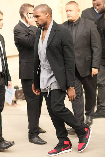 Kanye made moves in a blazer and essential pumped-up kicks.