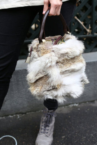A fur satchel that's both luxe and totally seasonal.