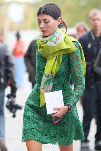 Giovanna Battaglia kept it all in the color family with a lime-green scarf and kelly-green lace.